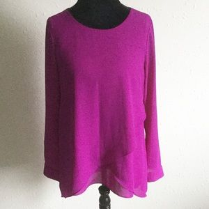 The Limited Purple Tiered Blouse Top